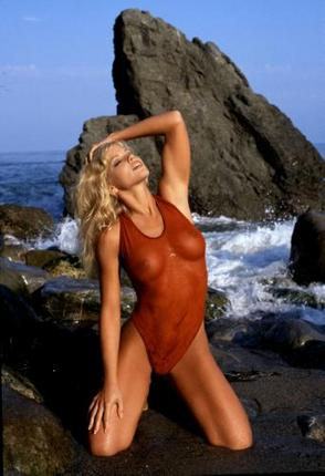 Donna Derrico Poster Red See-Thru Swimsuit